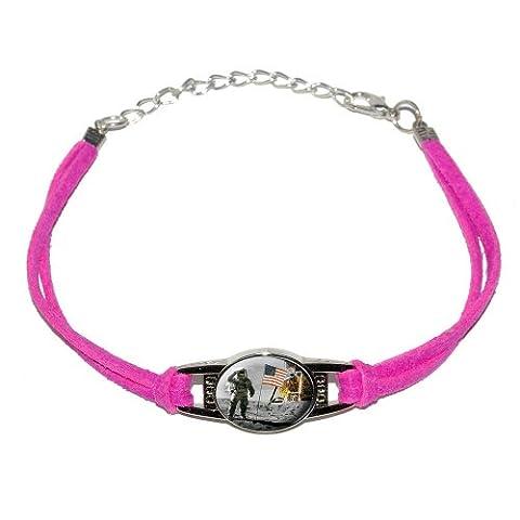 Astronaut Moon Landing - American Flag - Novelty Suede Leather Metal Bracelet - Pink