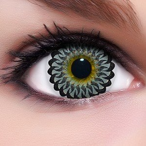 Linsenfinder Lenzera Circle Lenses graue 'Twirl Grey' ohne und mit Stärke + Kombilösung + Behälter Big Eyes farbige Kontaktlinsen