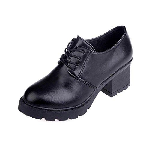 Somesun Womens Spring Boots Zapatos De Tobillo, Primavera Mujeres Casual System Vintage Con Cordones Zapatos De Punta Estrecha Al Aire Libre Tobillo Negro