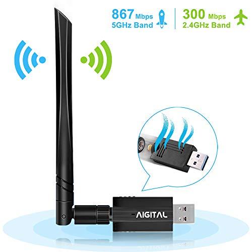 Aigital WLAN Stick,1200Mbit/s USB WiFi Adapter Dualband (5.8G/867Mbps+2.4G/300Mbps) Empfänger Wireless USB 3.0 WiFi Dongle 5dBi WLAN Antenna für Windows 10/8.1/8/7/VISTA,Mac OS X,PC/Desktop/Laptop