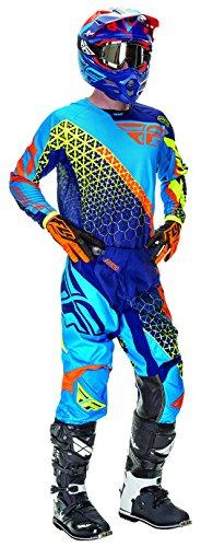 RFX Fly Racing Erwachsene Kinetic dreierwette Hose und Hemd Combo Kit, Blau/Orange/Viz, Größe 30/klein Jersey Off Road Hose Riding Gear
