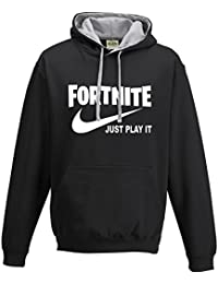 Taurus New Just Play it Fortnite Parody Contrast Gamers Gaming Hoodie PS4 Xbox