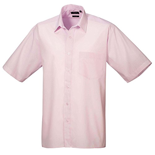 Premier Workwear Herren Businesshemd Poplin Short Sleeve Shirt Rosa