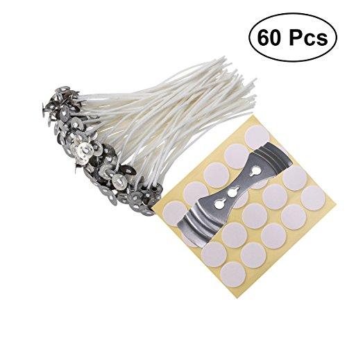 ULTNICE 60 Stücke Kerzendocht + 60 Stücke Aufkleber + 1 Stücke Kerzen Dochthalter für Kerzenherstellung