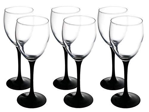 Verre transparent-Lot de 6 verres à vin rouge-Noir - 330 ml avec Long pied Grand