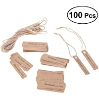 BESTOYARD 100 unids Kraft etiquetas de regalo con cuerdas nupcial regalo de boda etiquetas favores de regalo para hornear etiquetas del paquete de alimentos hechos a mano con amor tarjetas colgantes etiquetas (rectángulo)