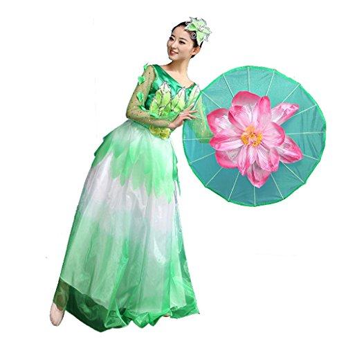 Byjia Regenschirm Tanz Flamenco Kleider Atmosphäre Eröffnungszeremonie Modern Klassische Kostüme Erwachsene Frauen Chor Bühne Big Swing Rock National Performance Kostüm Green Xxxl (Swing Ballroom Tanz Kostüme)