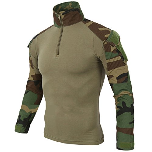 BELLOO Herren BDU Taktisch Shirt für Taktisch Armee Militär Airsoft Paintball,Jungle Camo,L (Uniform Bdu Camo)