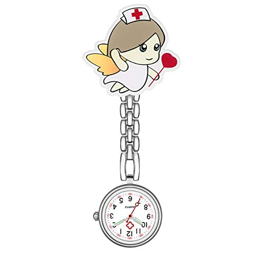 AIUIN Uhren Krankenschwester FOB Uhr Pflegeruhr Pulsuhr Ketteuhr Schwesternuhr Quarz Taschenuhr (Kleiner Engel)