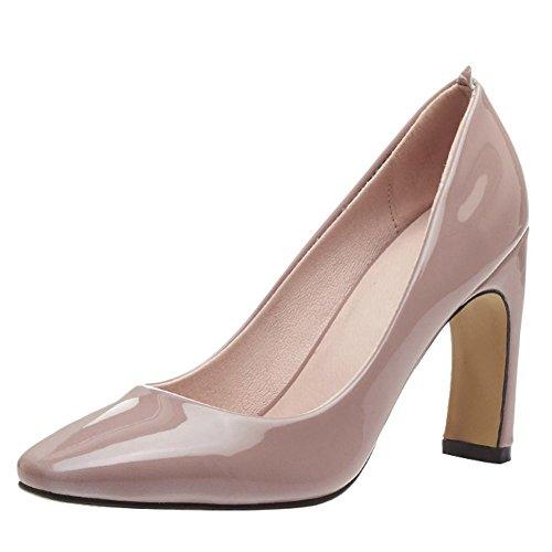 Mee Shoes Damen speziell heels ohne Verschluss vierkant Pumps Aprikose