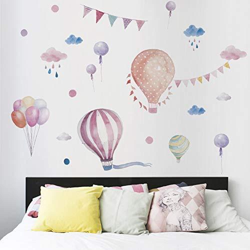 LQWE Neue Cartoon Heißluftballon Wolken Wandaufkleber Für Kinderzimmer Graffiti Geburtstagsparty Dekoration Für Wohnzimmer Kunst Wandbild
