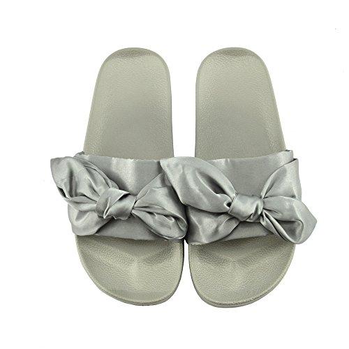 Kick Footwear - DONNA SLIPPER SLIP ON FLAT CURSORE MULI PELLICCIA CIABATTA SANDALI SCARPE Raso Grigio
