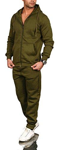 A. Salvarini Herren Jogging Anzug Trainingsanzug Sportanzug Sweatshirt AS071 [AS-071-Olive-Gr.4XL]