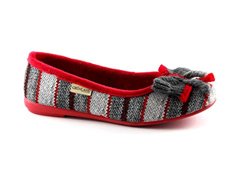 GRUNLAND DAIE PA0464 rosso pantofole ciabatte donna panno Multicolore