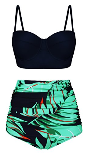 Angerella Vintage Halter Black Top High Waist Ruched Leave Print Bottom Bikini Set