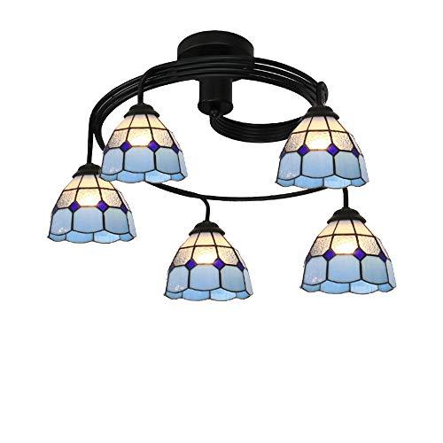 Vintage Kronleuchter Lampe Tiffany Stil Blume Farbige Glas Deckenleuchten Kinder Schlafzimmer Esszimmer Küche Kronleuchter Beleuchtung,C,5heads