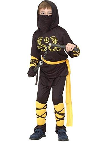 Kostüme Kind Ninja Gelbe (Ninja-Kostüm gelb für Jungen 104/116 (4-6)