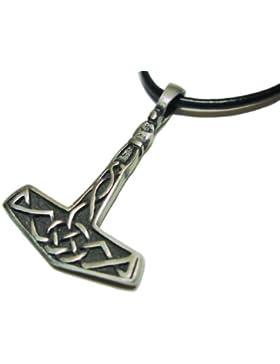 bkwear Halskette STM BW 29 Thors Hammer Zinn Anhänger Mjölnir Thorhammer 3x4 cm mit Baumwollband