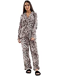 0c005aaa7c Ladies Fleece PJs Long Sleeve Pyjama Set Leopard Animal Print Ex Store  Womens PJ Set Plus