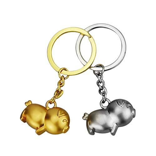 Vosarea 4pcs métal s'embrasser Couple de Cochon Couple Porte-clés 2019 Nouvel an Chinois Cochon Party Favors Cadeaux (Perle d'or)