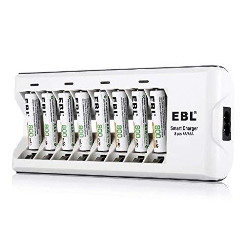 EBL 808A 8 Bay AA AAA Cargador de Batería con 8 Piezas de AAA 800mAh Ni-MH Baterías Recargables