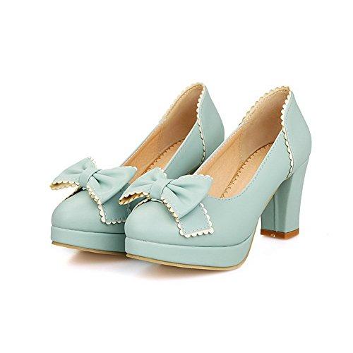 AgooLar Damen Weiches Material Rund Zehe Hoher Absatz Ziehen Auf Rein Pumps Schuhe Blau