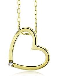 Miore Damen-Halskette Herz 375 Gelbgold 1 Brillant farblos 45 cm