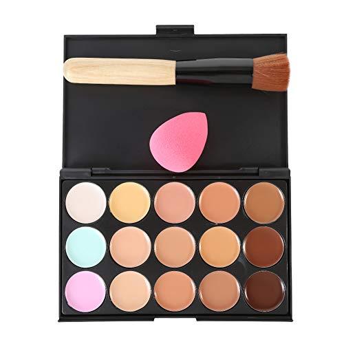 Woya 15 couleurs de maquillage Correcteur Contour Palette + pinceau de maquillage+éponge maquillage blender