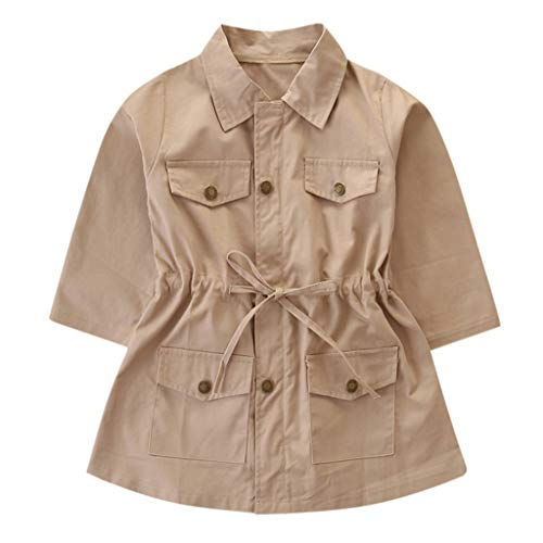 LEXUPE Kleinkind Kinder Baby Mädchen Langarm Trenchcoat Windbreaker Jacke Outwear Parka(Khaki,100)