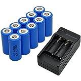 Sannysis 16340 Cargador de batería con 2 ranuras para baterías recargables de Li-ion + 10 pcs 16340 2000mAh baterías