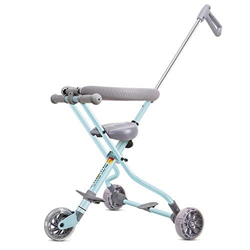FXZ Cochecitos para niños pequeños Barandas portátiles para Carro con Freno Park Walk Pink Blue (Color : Azul, Tamaño : 3 Wheels)