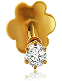 ELOISH CZ Studded Gold Nose Pin. 14 Carats Gold Nose Pin.