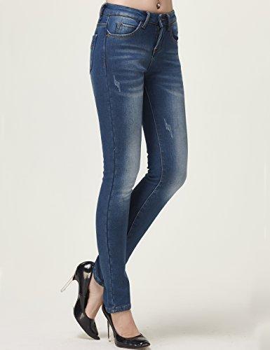 Camii Mia Damen Normaler Bund Mid Rise Slim Fit Fleece Skinny Jeans Blau