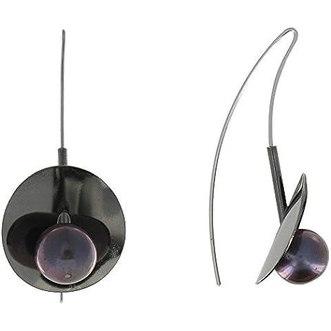 Joyas Les Poulettes - Pendientes Lirios oxidados de plata rodio y perla de cultura Gris Negro
