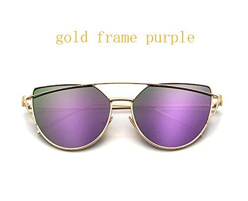 Aprigy Cat Eye Jahrgang Markenentwerfer Ros¨¦gold Spiegel Sonnenbrillen f¨¹r Frauen reflektierende Metall flache Linse Sonnenbrillen [Gold Frame Lila]