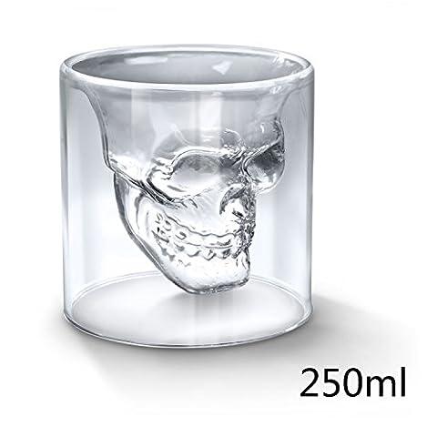 giancomics à tête de mort cristal Shotglass Coupe de vin Squelette Ware potable tasse Home Bar, Verre borosilicate, Transparent, 250 ml
