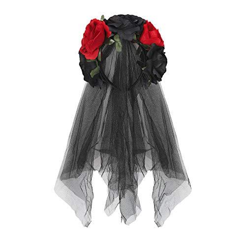 Tag Toten Der Festival Kostüm - RUIXIB Damen Tag der Toten Haarschmuck mit Rosen und Schleier Kopfschmuck Halloween Kostüm Accessoire Hochzeit Blumen Kranz Schwarz Brautschleier für Hochzeiten Festival Party