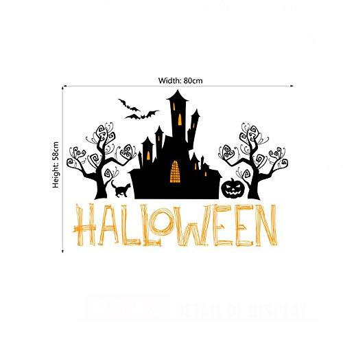 (Shisky Wandaufkleber,Halloween Haunted House Kürbis Gesicht PVC herausnehmbare Hintergrund Wand Aufkleber Öko-abnehmbare dekorative Malerei 80 * 5 8cm)