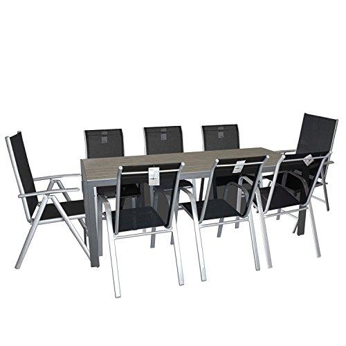9tlg Gartengarnitur Aluminium Gartentisch mit Polywood Tischplatte 205x90cm Gartenstuhl 6x Stapelstuhl 2x Hochlehner 7-fach verstellbar Rückenlehne mit Textilenbespannung Sitzgruppe Terrassenmöbel Gartenmöbel Set
