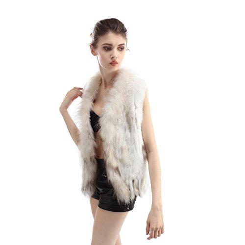 Bellefur Echter Gestrickter Pelzponcho aus Kaninchen für Damen im Winter mit Waschbär Pelz Schnitt Weiß