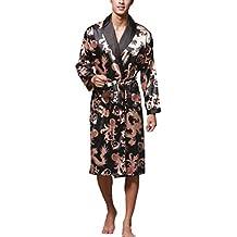 Batas Hombre Largos Manga Larga Respirable V-Cuello Esencial Silk Kimono Moda Vintage Anchas Cómodo