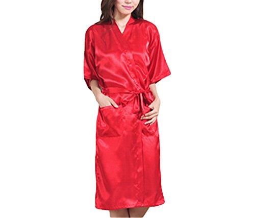 Hippolo Sommer-Beiläufige Sleepwear-Kimono-Badekleid-Nachthemd der Reizvollen Langen Chinesischen Weiblichen Robe-Frauen (XXL, Rot) (Lange Spa Robe)