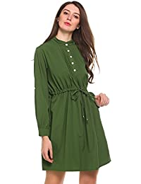 63ac59d80034 Beyove Damen Elegant Asymmetrisches Kleid Blusenkleid Hemdkleid Minikleid  Longshirt V Ausschnitt Langarm Casual Party