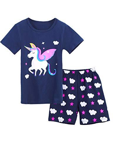 lafanzug Giraffe Drucken Nachtwäsche Baumwolle Kinder Frühling Sommer Bekleidung Pyjama Set Rosa Kurze Ärmel Pyjama Zweiteiliger Schlafanzug Shorty ()