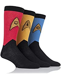 Mens 3 Pair SockShop Star Trek Uniforms Cotton Socks