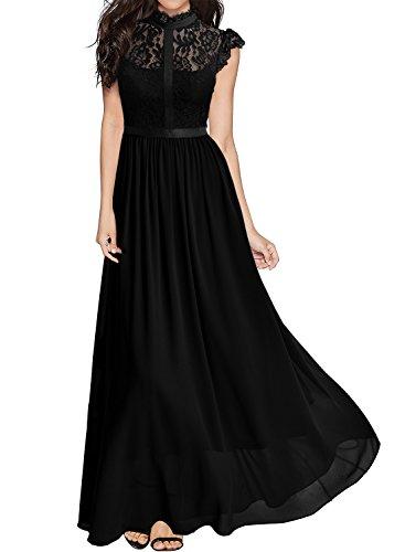Miusol Damen Elegant Spitzen Abendkleid Brautjungfer Cocktailkleid Chiffon Faltenrock Langes Kleid Schwarz Gr.M