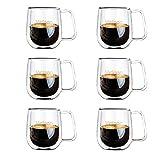 Vicloon Cafissimo Espresso Latte Glastassen,Doppelwandig Kaffee- Tee-Glas,Macchiato Tassenset Glas (6PCS)