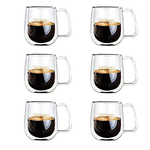 Vicloon Cafissimo Espresso Latte Glastassen,Doppelwandig Kaffee- Tee-Glas,Macchiato Tassenset Glas...
