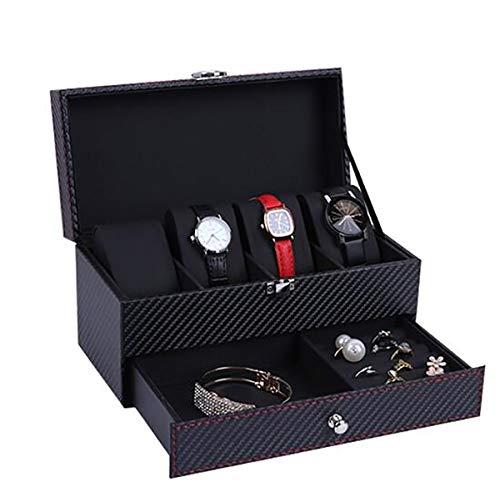 WG Kohlefaser 2 Schichten 4-Bit-Box mit Schublade Uhrenbox Lagerung Uhren Display Aufbewahrungsbox Fall Schmuck Uhr Collector Case,B