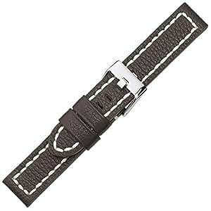 Herzog Aviator Bracelet de Montre cuir Band foncébrun 24mm 686024